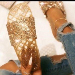 💫Gold Sparkle Slides
